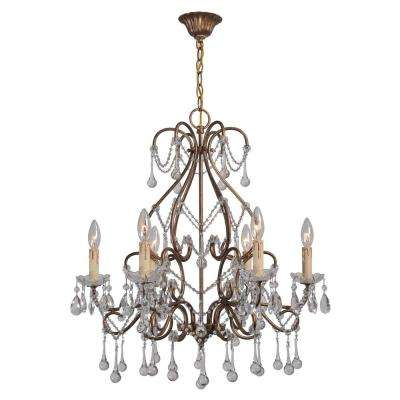 Grace Collection 6 Light Antique Gold Indoor Chandelier With Crystal Teardrops