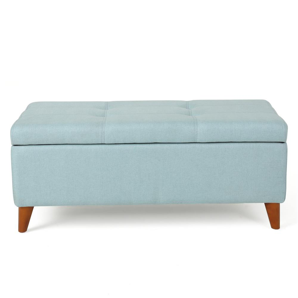 noble house harper light blue fabric storage ottoman 9882 the home depot
