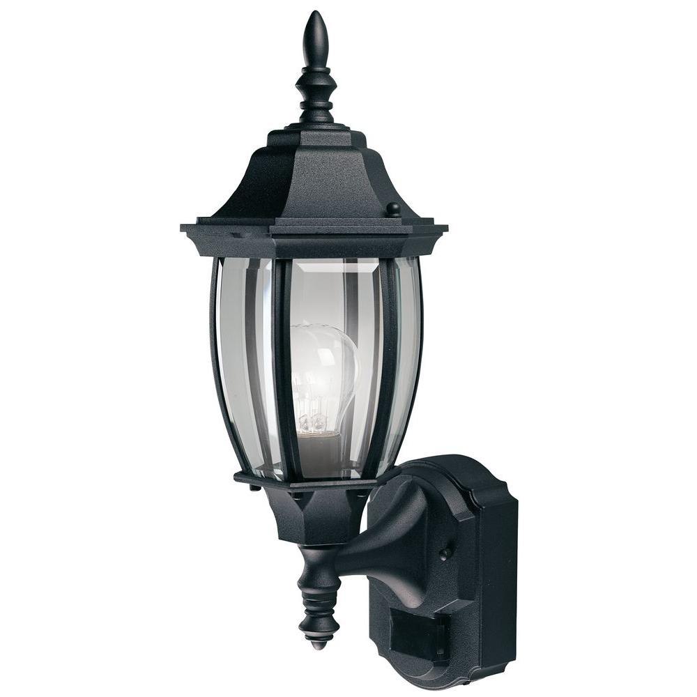 medium resolution of heath zenith 180 degree black alexandria wall lantern sconce with curved beveled glass
