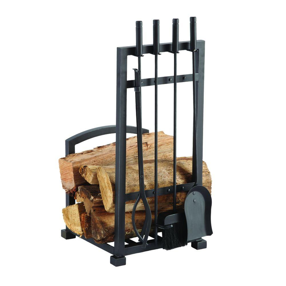 Pleasant Hearth Harper 4Piece Log Holder and Fireplace Tool SetFA338LT  The Home Depot