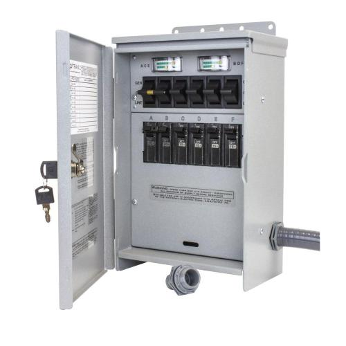 small resolution of 7 500 watt 30 amp 6 circuit outdoor transfer switch