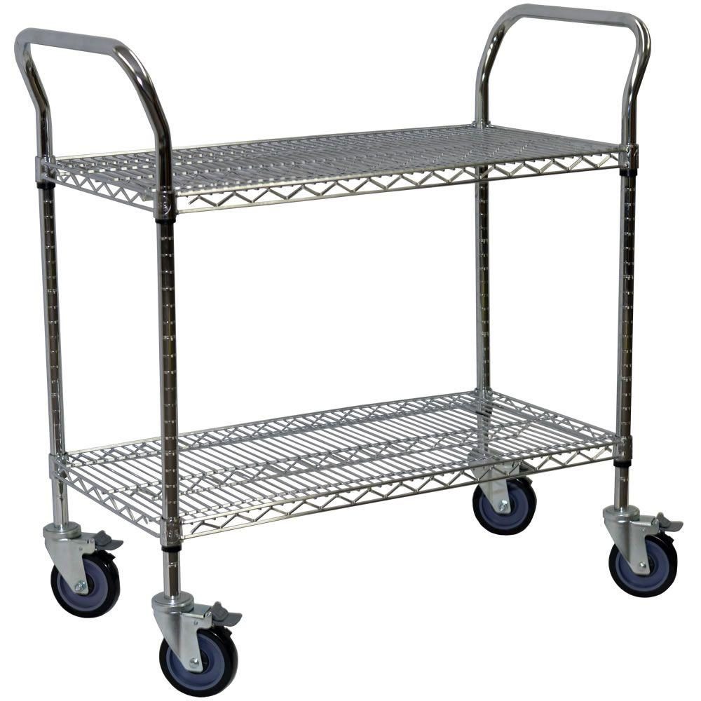 Storage Concepts 2-Shelf Steel Wire Service Cart in Chrome