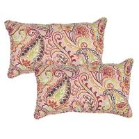 Chili Paisley Lumbar Outdoor Throw Pillow (Pack of 2)-7907 ...
