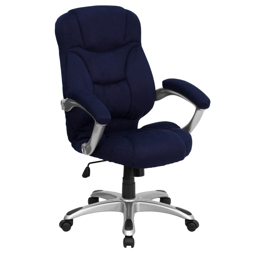 contemporary office chairs old high chair repurposed flash furniture back navy blue microfiber executive swivel go725nvy the home depot