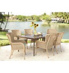 hampton bay lemon grove 7 piece wicker outdoor dining set with cushionguard surplus cushion [ 1000 x 1000 Pixel ]