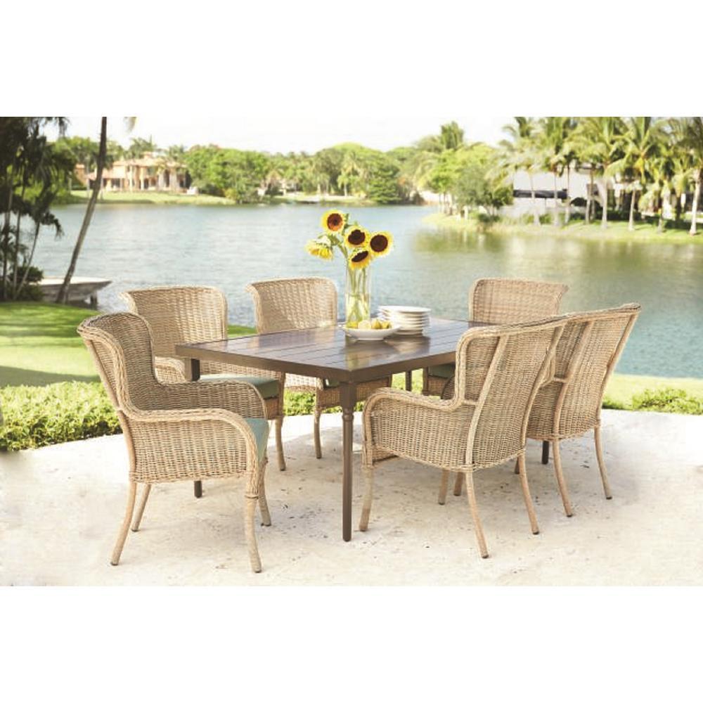 medium resolution of hampton bay lemon grove 7 piece wicker outdoor dining set with cushionguard surplus cushion