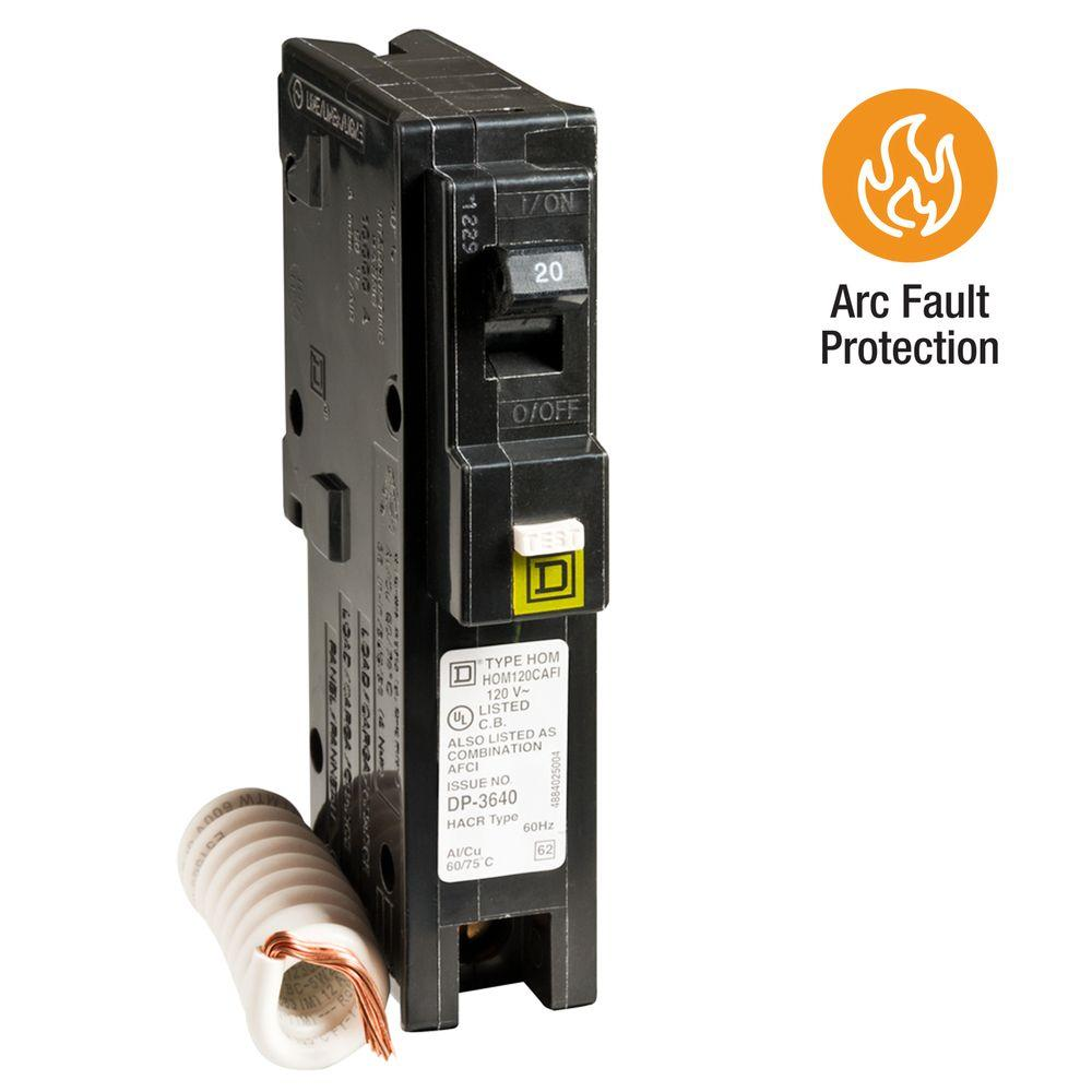 medium resolution of square d homeline 20 amp single pole combination arc fault circuit breaker