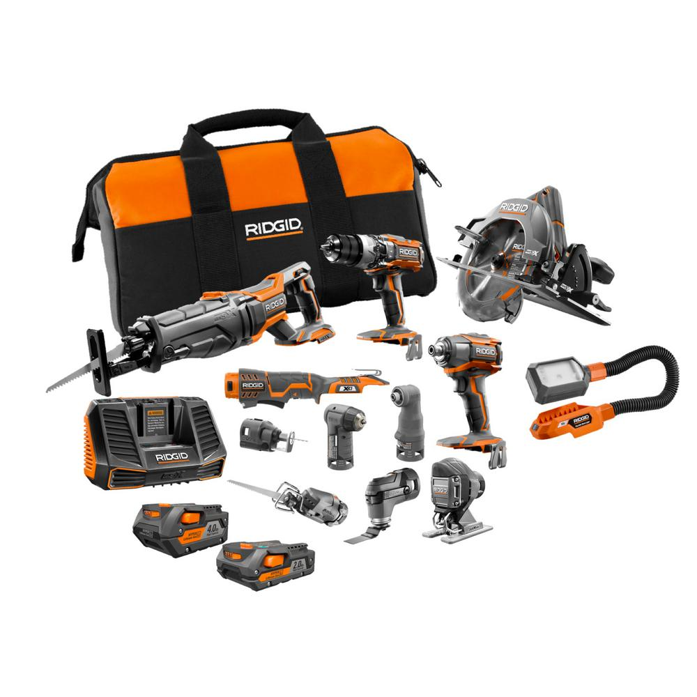 Ridgid 18 Volt Lithium Ion Cordless 12 Piece Combo Kit With 1 4 0 Ah Battery 1 2 0 Ah Battery Charger And Bag R9627n The Home Depot