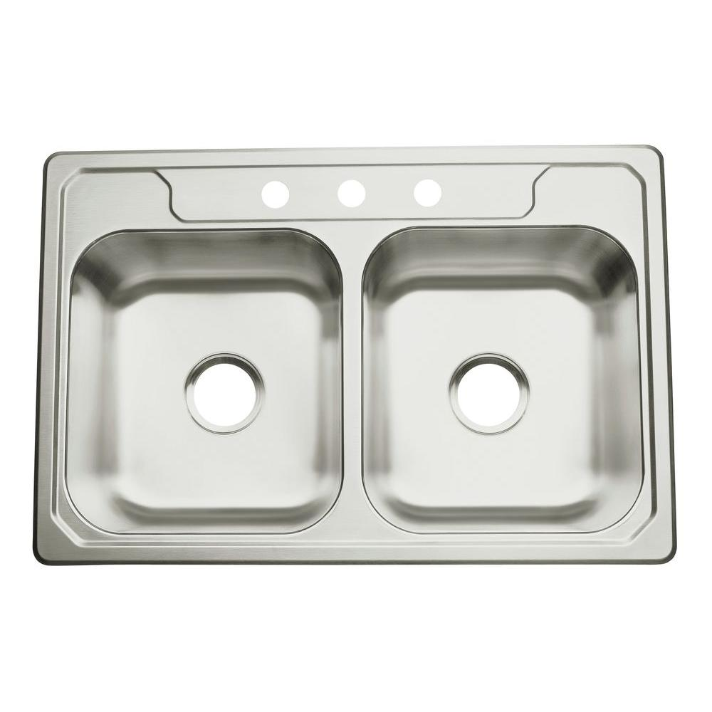 3 basin kitchen sink pre made cabinets sterling middleton drop in stainless steel 33 hole double
