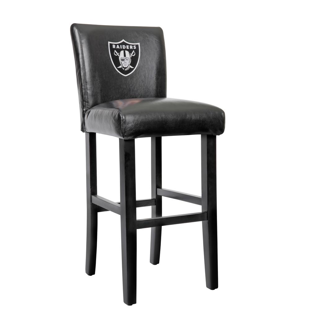 oakland raiders chair hanging patio 30 in black bar stool with faux leather cover set of 2