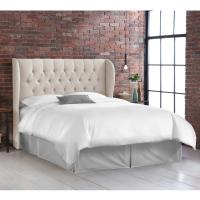 Skyline Furniture Full Tufted Wingback Headboard in Linen