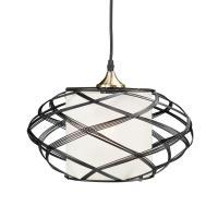 Sultano 1-Light Matte Black Wire Cage Pendant Lamp-HD88210 ...