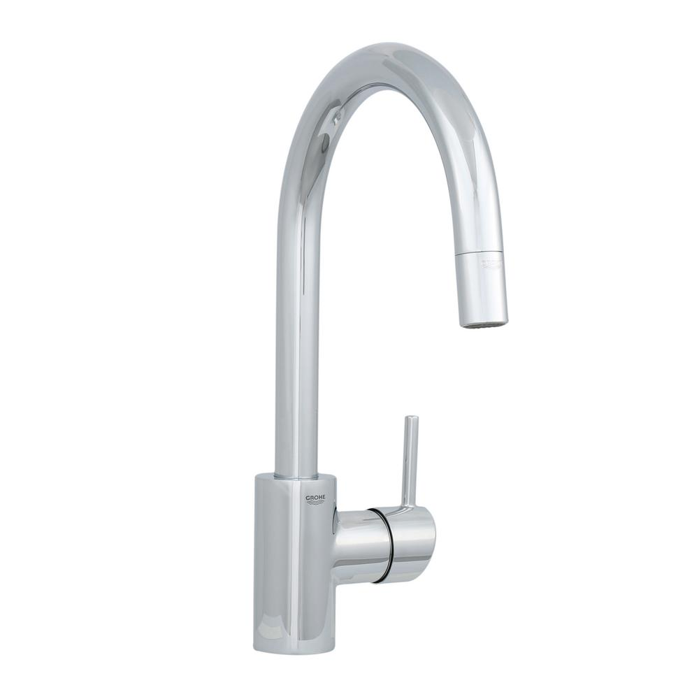 grohe kitchen faucets parts stick on tile backsplash concetto single handle pull down sprayer faucet in starlight chrome