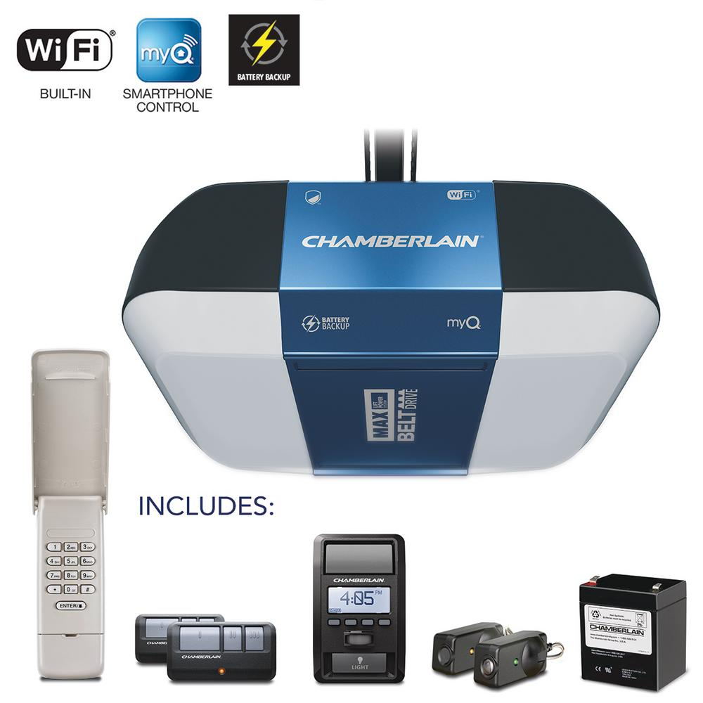 Chamberlain 114 HP Equivalent Corner to Corner LED Lighting UltraQuiet Belt Drive Smart