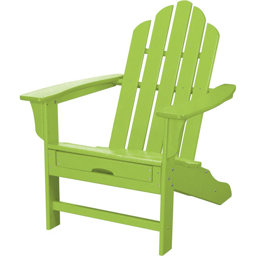 Lime Green Chairs Hanover All Weather Patio Adirondack Chair With Hide Away Ottoman In Lime Green