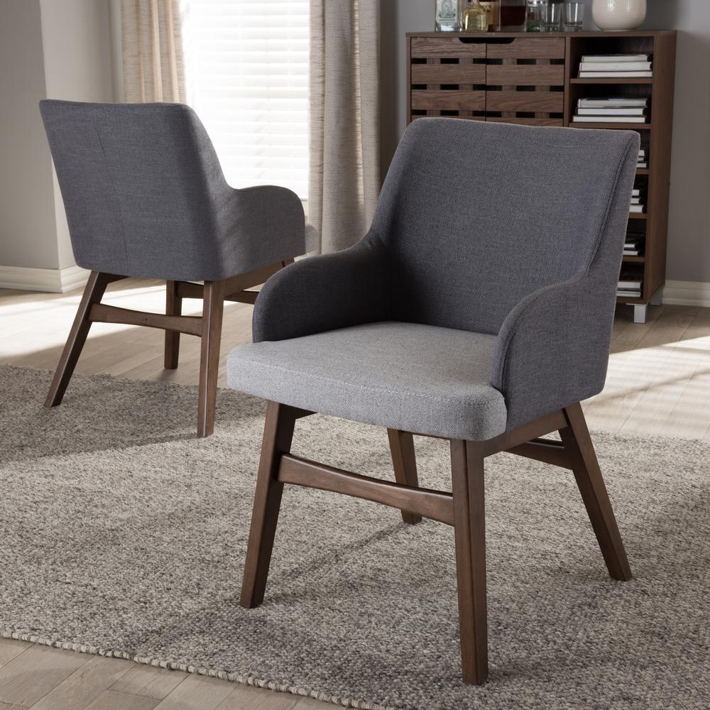 gray upholstered dining chairs hanging chair near me baxton studio monte fabric set of 2