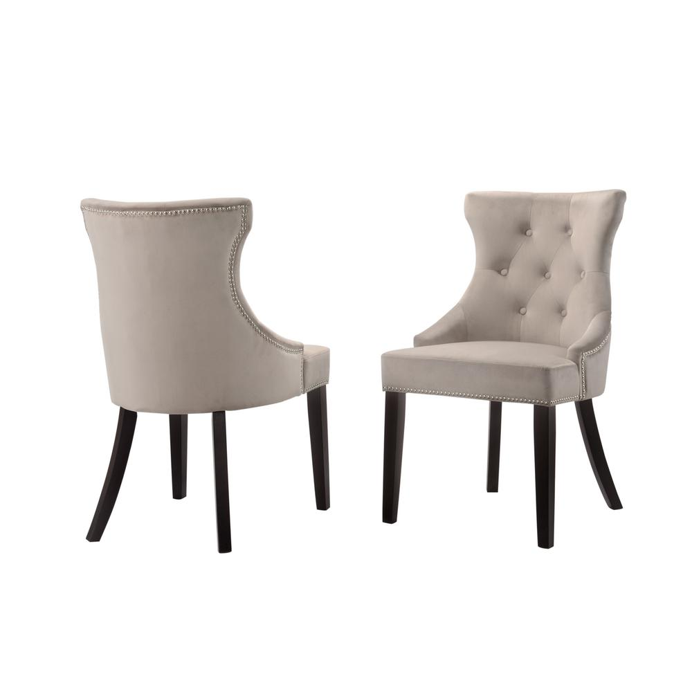 tufted nailhead chair kids table and chairs ikea carolina cottage julia gray velvet upholstered back nail head set of 2
