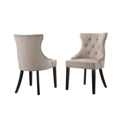 upholstered chair with nailhead trim 8 square dining table upholstery gray chairs kitchen julia velvet tufted back nail head set of 2