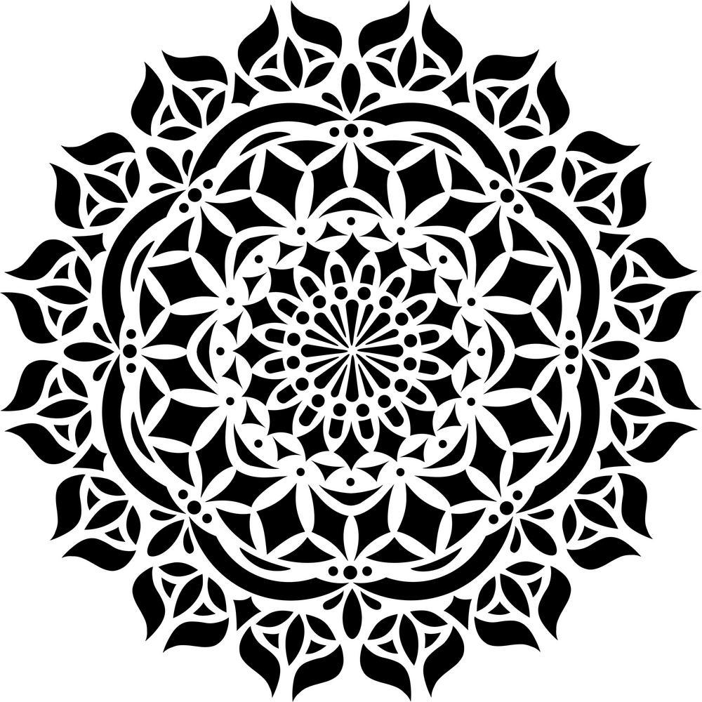 asana mandala stencil