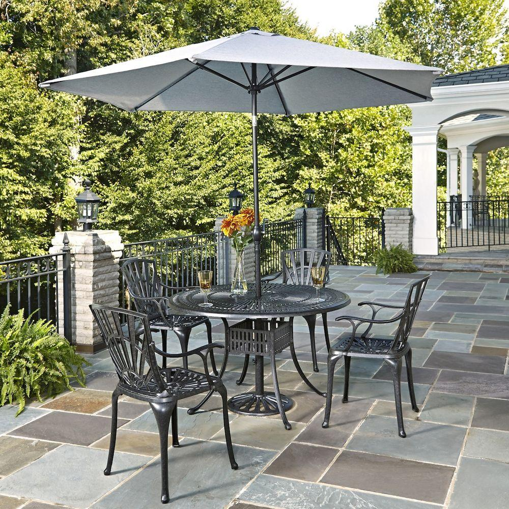 Home Styles Largo 48 in W 5Piece Patio Dining Set with Umbrella55603286  The Home Depot