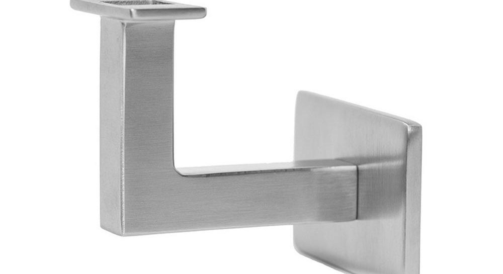 Square Slim 2 5 In Stainless Steel Handrail Wall Bracket Hbwa 009 | Stainless Steel Handrails Near Me | Metal | Cable Railing | Glass Railing Systems | Relaxdays Stainless | Staircase Railing
