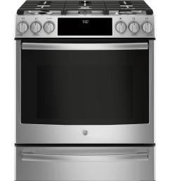 ge profile 5 6 cu ft slide in smart dual fuel range with self [ 1000 x 1000 Pixel ]
