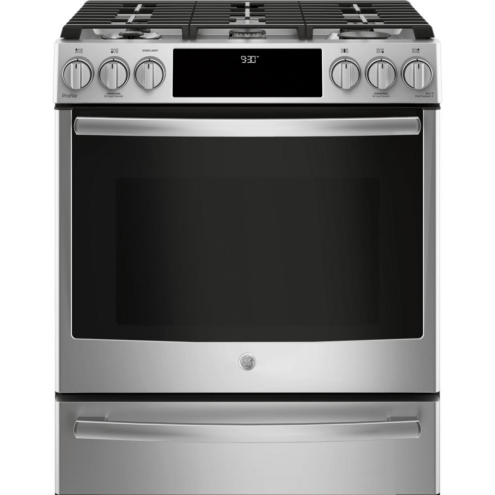 medium resolution of ge profile 5 6 cu ft slide in smart dual fuel range with self