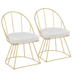 Gold Dining Chairs Office Chair Zero Gravity Lumisource Canary And White Velvet Set Of 2 Dc