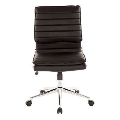armless chair office gym workout pro line ii chairs home furniture the depot mid back manager s black faux leather