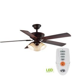 hampton bay campbell 52 in led indoor mediterranean bronze ceiling fan with light kit and [ 1000 x 1000 Pixel ]