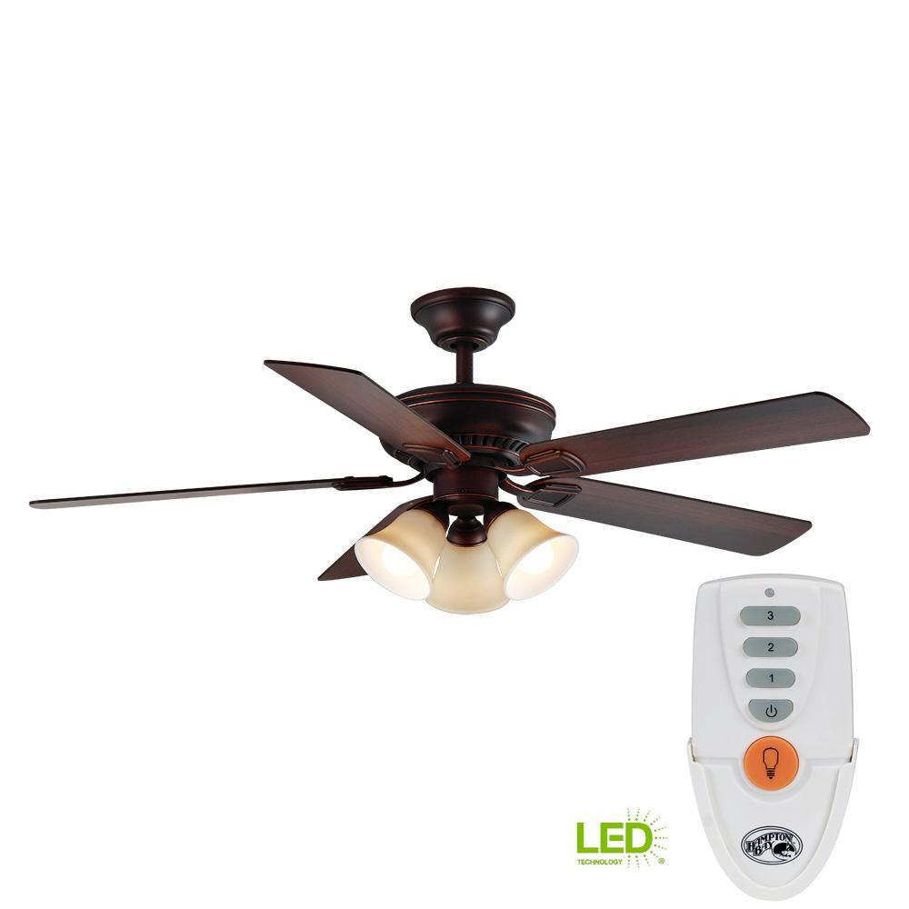 medium resolution of hampton bay campbell 52 in led indoor mediterranean bronze ceiling fan with light kit and