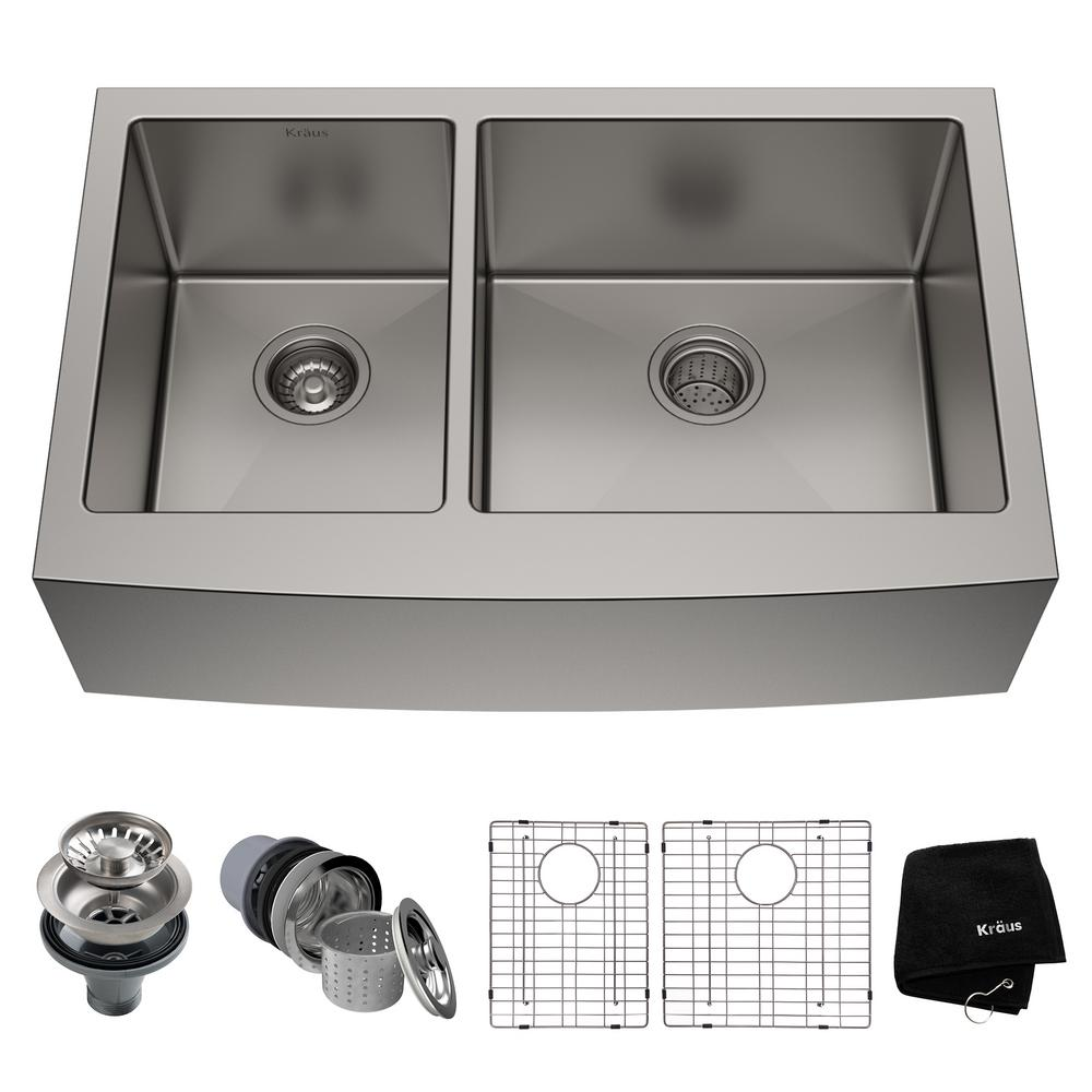 KRAUS Standart PRO Farmhouse Apron Front Stainless Steel 33 In Double Bowl Kitchen Sink KHF204