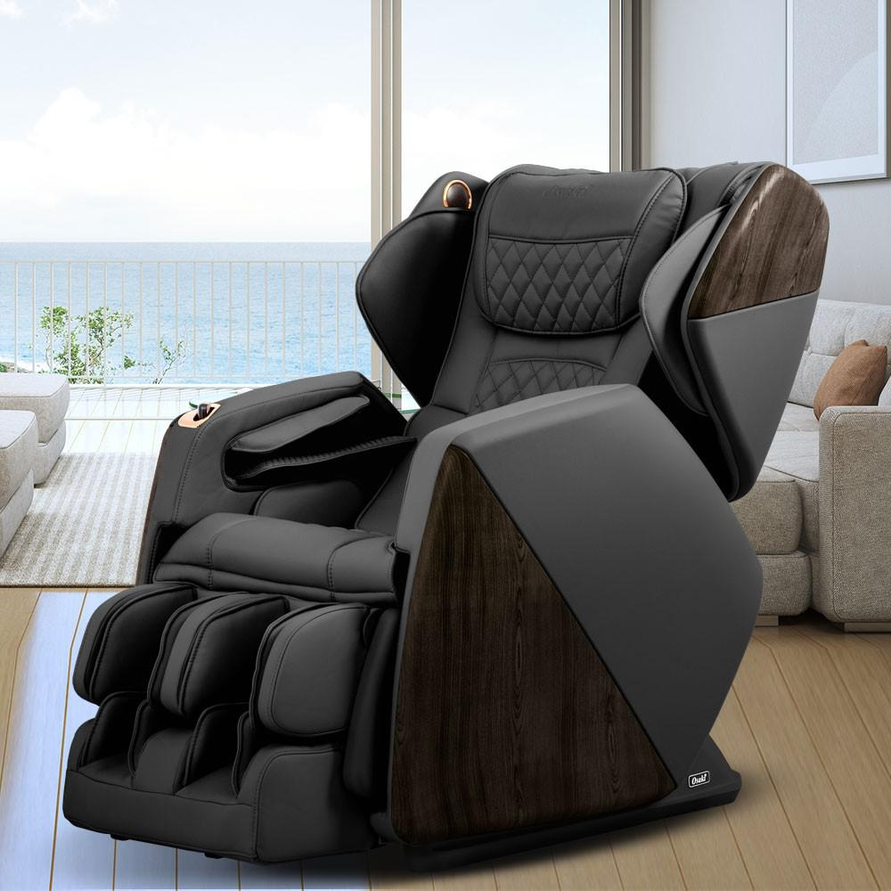 Leather Reclining Chairs Pro Series Soho Black Faux Leather Reclining Massage Chair With Bluetooth Speakers And 4d Massage