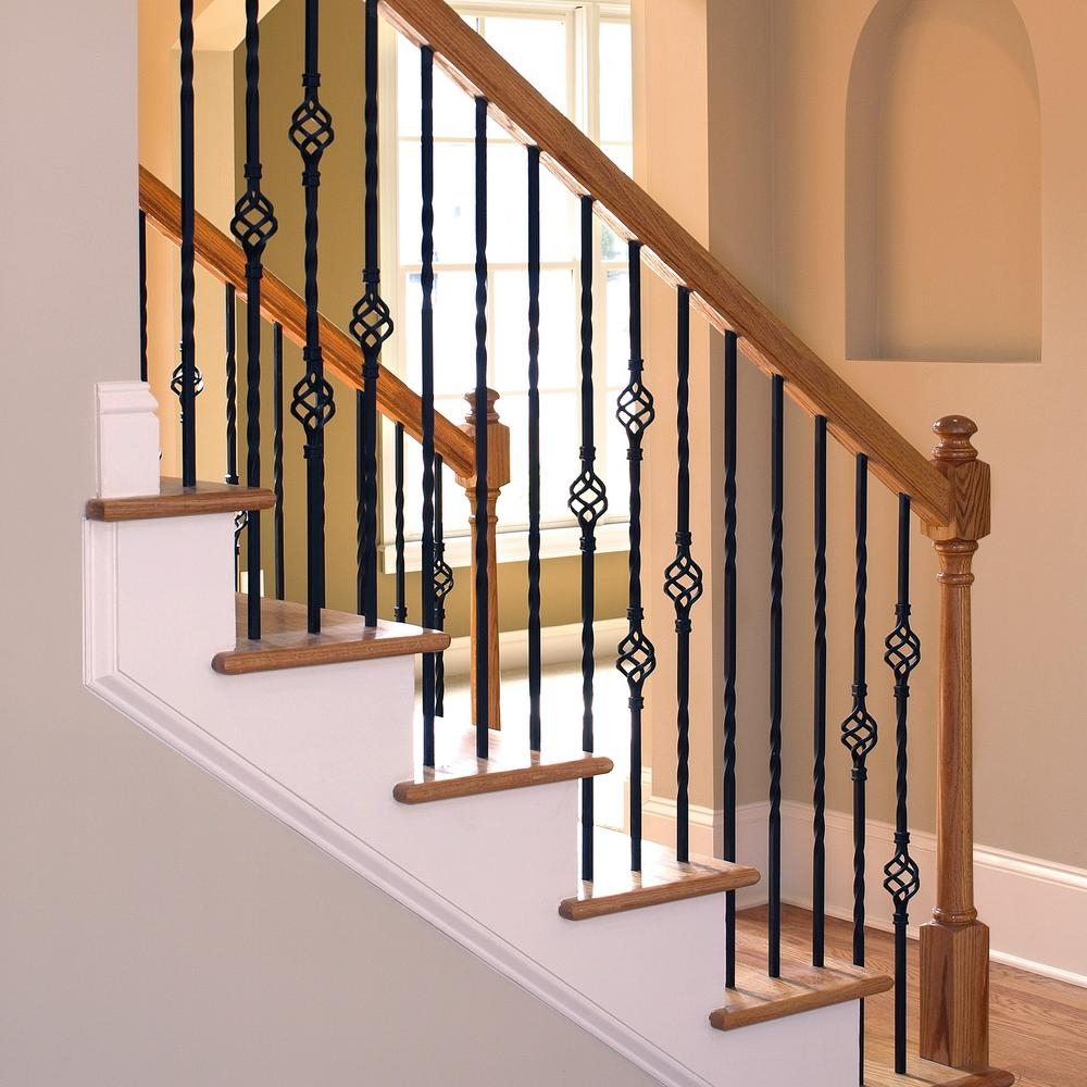 Stair Parts 1 2 In X 44 In Matte Black Metal Double Twist   Installing Wrought Iron Balusters   Staircase   Stair Treads   Stair Parts   Iron Stair Spindles   Wood