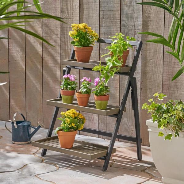 Noble House Meridien 26 75 In Grey Plant Stand 42577 The Home Depot