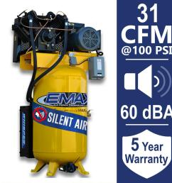 emax industrial plus series 80 gal 7 5 hp 208 volt 3 phase silent emax industrial [ 1000 x 1000 Pixel ]