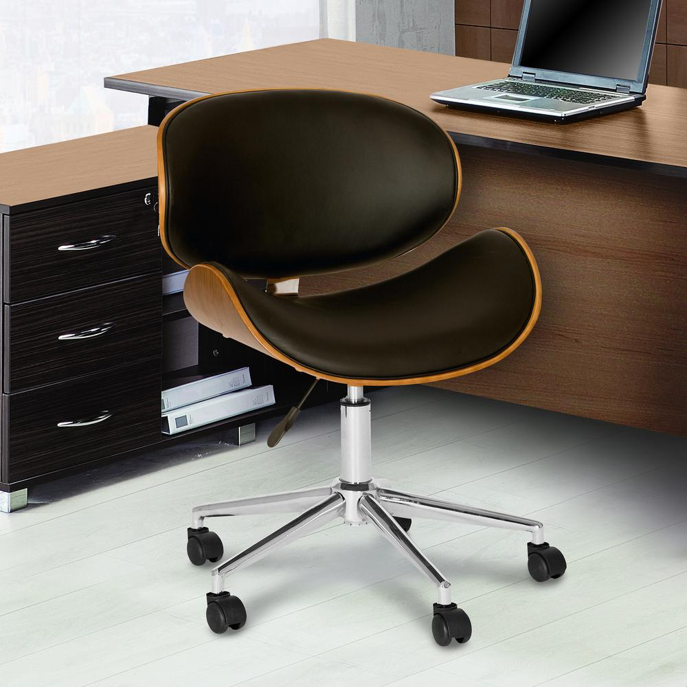 leather chrome chair cheap folding outdoor chairs armen living daphne 33 in black faux and finish modern office lcdaofchbl the home depot