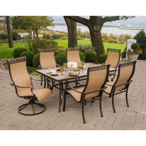 patio furniture sets Hanover Monaco 7-Piece Outdoor Patio Dining Set