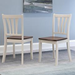 Dark Brown Wooden Dining Chairs Stool Chair For Sale Philippines Corliving Dillon And Cream Solid Wood Curved Vertical Salt Backrest Set