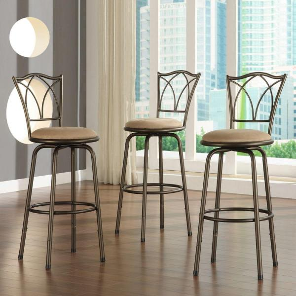 Home Decorators Collection Adjustable Height Brown Swivel Cushioned Bar Stool Set Of 3