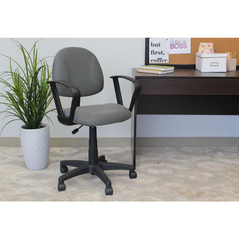 posture deluxe chair rustic wooden chairs uk boss grey with loop arms b317 gy the home depot