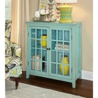 Linon Home Decor Largo Antique Turquoise Storage Cabinet ...