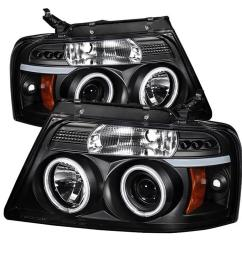 ford f150 04 08 projector headlights version 2 ccfl halo led replaceable leds black [ 1000 x 1000 Pixel ]