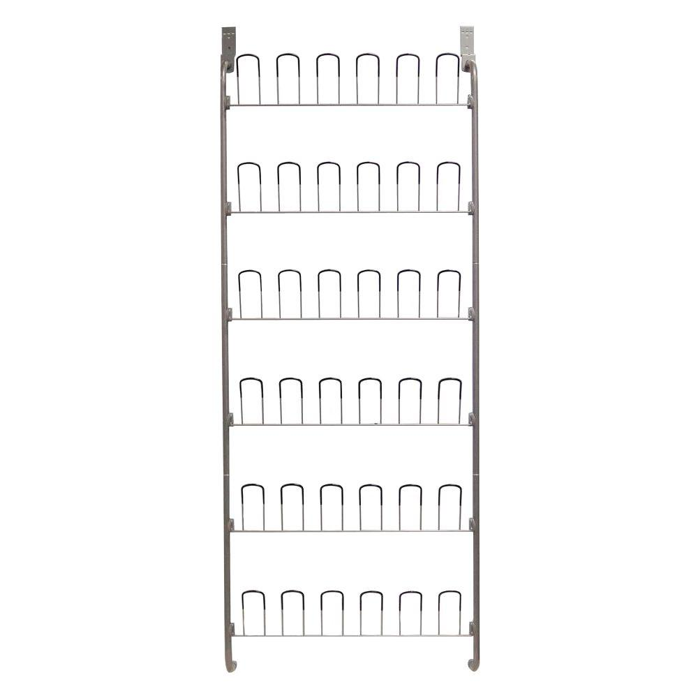 Neu Home 18-Pair Overdoor Wire Storage Shoe Rack in Silver