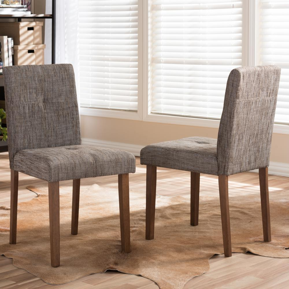 gray upholstered dining chairs chair arm covers baxton studio elsa fabric set of 2