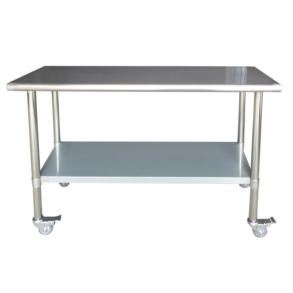 steel kitchen table solid color rugs sportsman stainless utility with locking casters