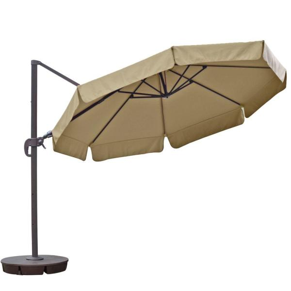 Island Umbrella Freeport 11 Ft. Octagon Cantilever With Valance Patio In Beige