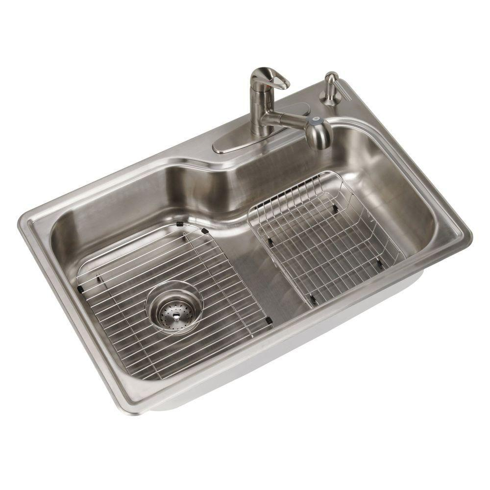 single sink kitchen cheap tables and chairs glacier bay all in one drop stainless steel 33 4 hole