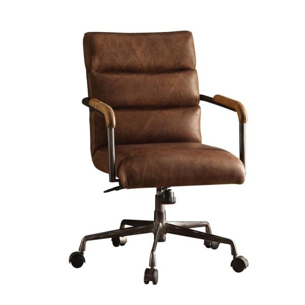 leather office chair ACME Furniture Harith Retro Brown Top Grain Leather Office Chair-92414 - The Home Depot