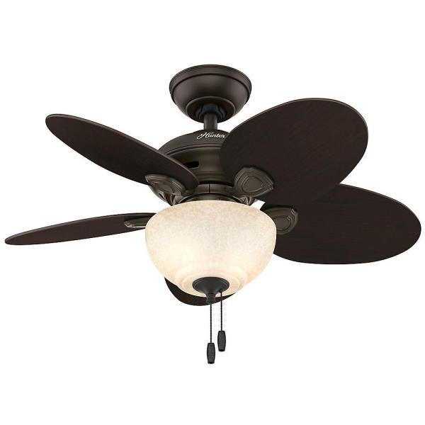 Hunter Carmen 34 In. Indoor Bronze Ceiling Fan With Light-51004 - Home Depot